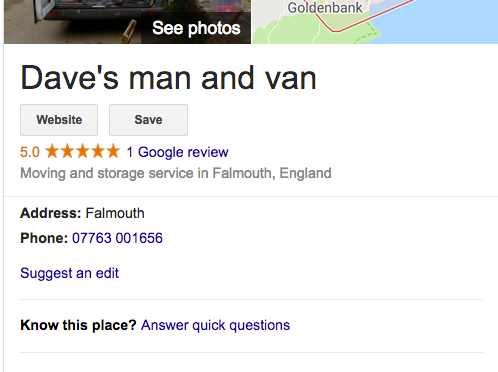 Google Review 5* – thank you Martin Orders